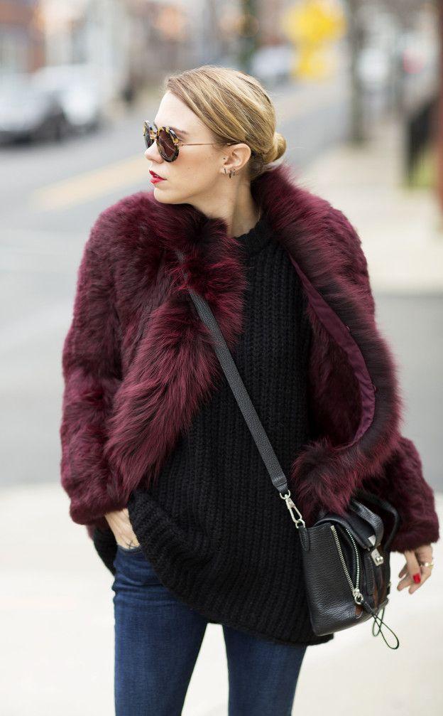 abrigo piel vino