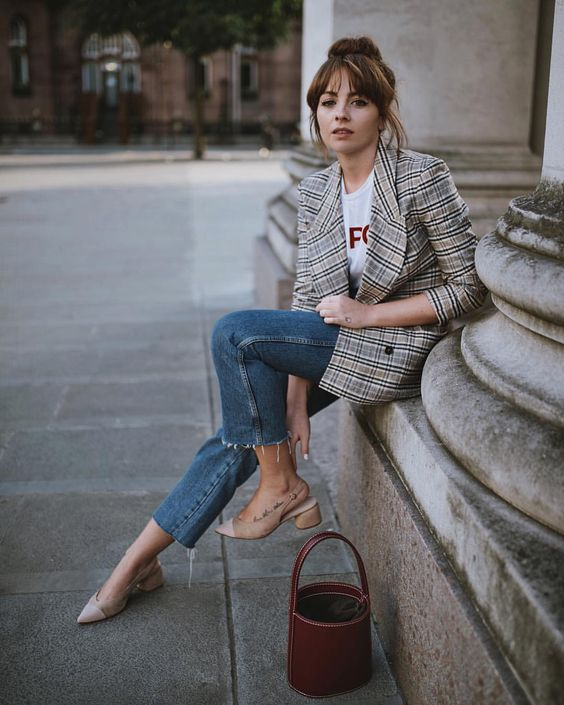 Resultado de imagen para blazers de cuadros mujer