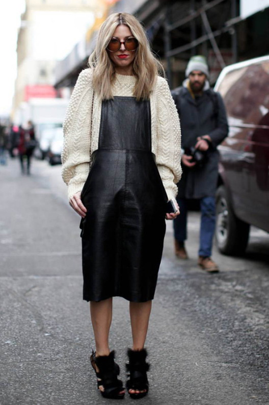 4.-Oversized-Sweater-With-Leather-Dress