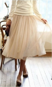 falda midi tul blanco